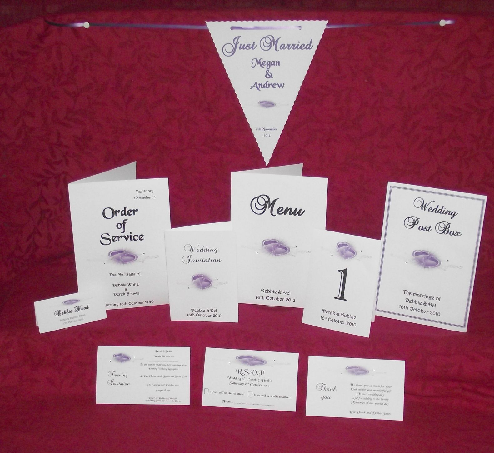Menu with insert Personalised Printed Heart design for weddings or ...